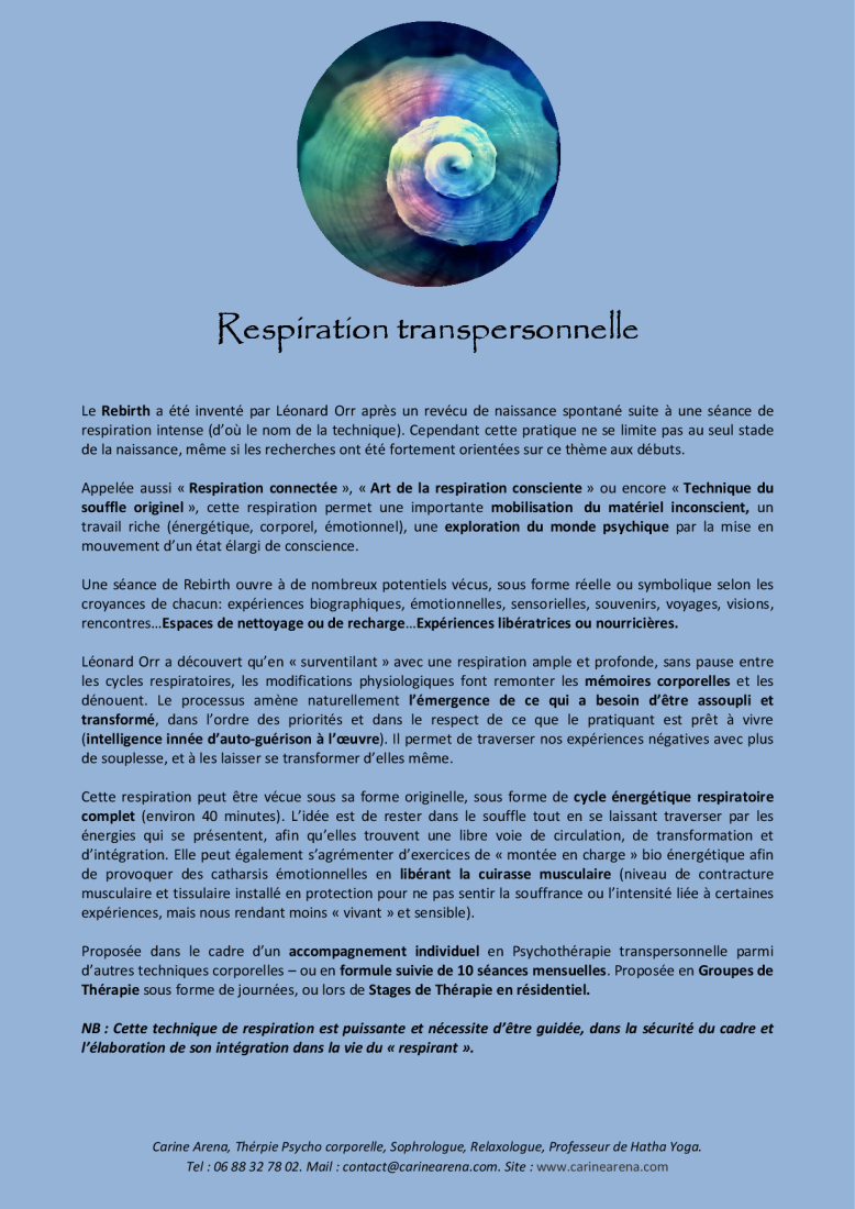 RESPIRATION TRANSPERSONNELLE