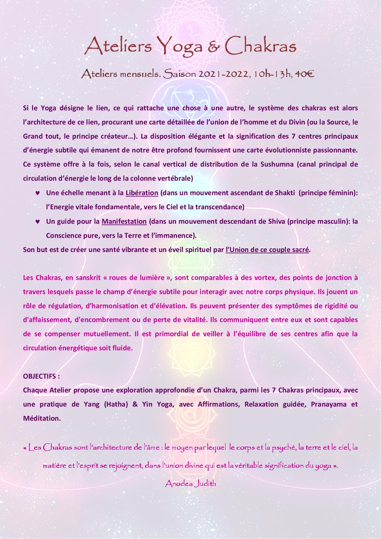ATELIER CHAKRA description 2021 20221
